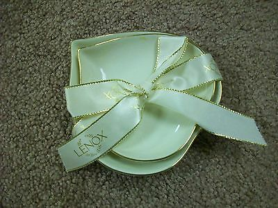 NWOB Lenox 2000 China HAND PAINTED Candy/Nut Dish, Ivory Color With Gold Trim  2