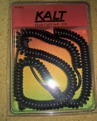 Kalt Flash Coil Cord 15' NEW PC Female To Male Extension. Extend your Flash sync