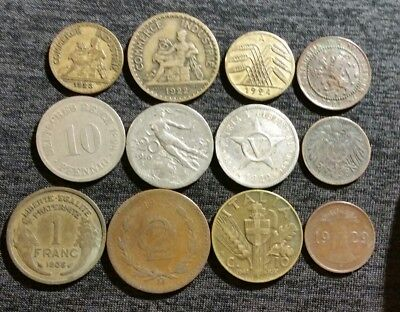 LOT Of 12 OLD VINTAGE WORLDWIDE WORLD FOREIGN COINS 1881 to 1941 MIX EUROPE WW