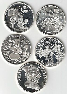 .999 Fine Silver Lot of Five One Troy Ounce Rounds CHRISTMAS  5 x 1 oz.