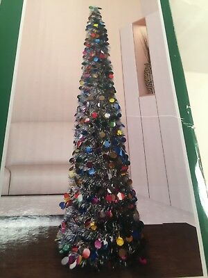 Collapsible Christmas Tree.5 Ft Multicolor Tinsel Christmas Tree Pop Up Thin Collapsible Sequin Decorative