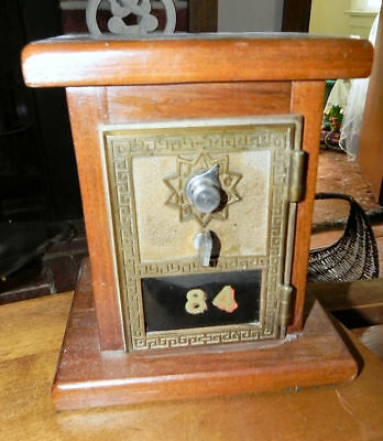 Antique Oak Case 1886 Single Dial Nickel Plated Rolled Brass Door Mail Box Bank