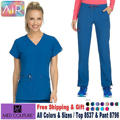 Med Couture Scrubs Satz Luft Touch Damen Uniform V-Ausschnitt Top & Hose