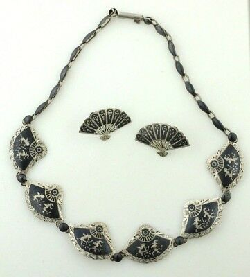 1940's Vintage  Of Sterling Silver Siam Niello Necklace And Earrings Fan Design