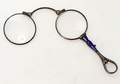 Antique Late 19Th Century Hand Enameled .900 Silver Lorgnette Spectacles Rare!