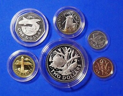 Barbados, Proof, Mint, Uncirculated Coins 1 Cent to 2 Dollars, 1973, x6 Coins