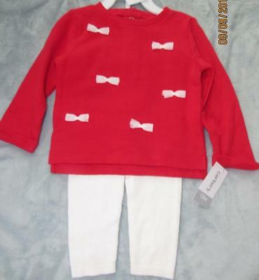 NWT Carter's Girls 2 PC Red Bow Top & Ribbed Cream Leggings SET SZ 12 Mos HOLIDA