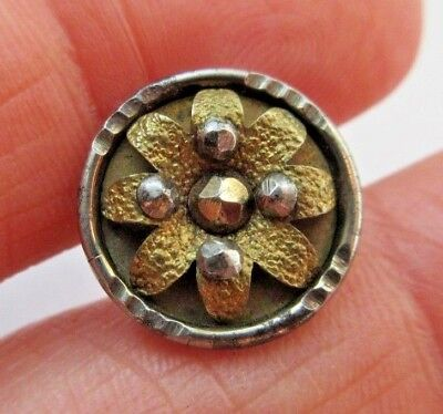 "Excellent Antique~ Vtg Steel Cup BUTTON w/ Brass & Cut Steel Accents 5/8"" (Y9)"