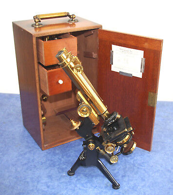 Watson BINOCULAR & MONOCULAR Brass Edinburgh Microscope in Case - Top Condition