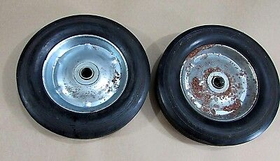 """Pair Old Solid Rubber Tire Heavy Duty 8"""" Steel Cart Wheels 5/8"""" Axle FREE S/H"""