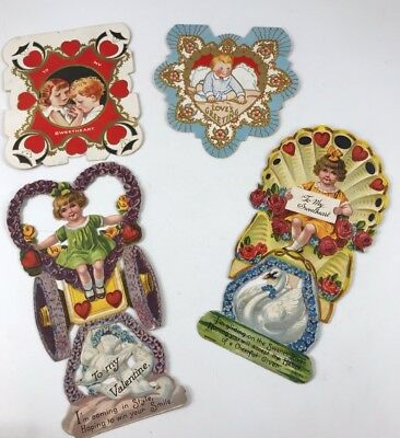 Lot Of 4 Antique/vintage Valentines Day Cards