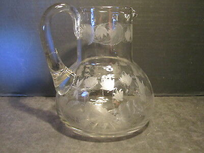 Very Old Elegant Hand Made Clear Crystal Butterflies & Dragonfly Etched Pitcher