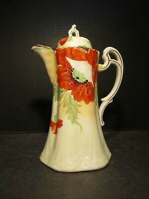 Old Nippon Hand Painted Poppy Flower Decorated Porcelain Chocolate Pot