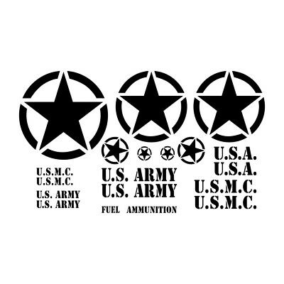 Usmc Military Jeep Or Willys Star Vinyl Decals 2 Select