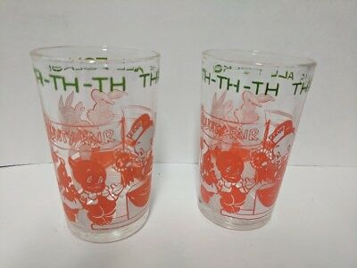 2 VINTAGE WELCH'S Th-Th-Th That's All Folks! PORKY PIG JELLY JUICE GLASSES