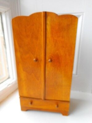 Vintage Miniature Wardrobe - Just Like The Full Size , Even Two Mirrors Inside