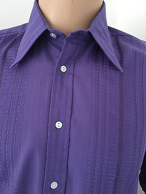 """Purple Embroidered Shirt Festive Evening Formal Tuxedo Party 40-42"""" X 15.5 M"""