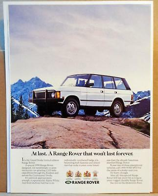 1990 Range Rover Great Divide Ltd Ed Off-Road Rocky Mountain Top Photo Print AD
