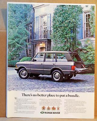 1990 Range Rover Classic Cargo 'No Better Place to put a Bundle' Photo Print AD