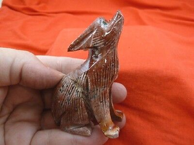 (Y-COY-401) red gray Coyote wolf carving stone gemstone SOAPSTONE PERU coyotes
