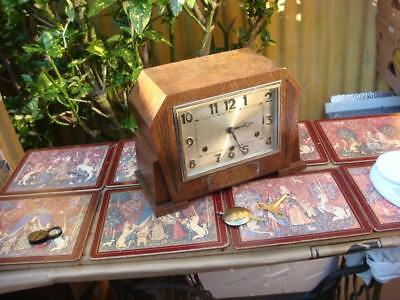 Antique Westminster  Chime  Mantle Clock With Key & Pendulum