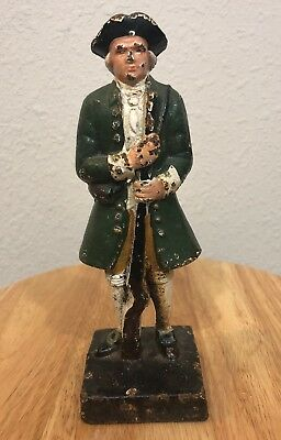 Antique Cast Iron Door Stop George Washington Painted American Revolution