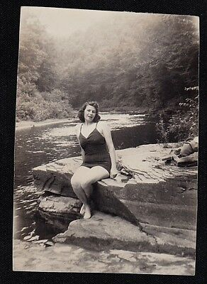 Vintage Antique Photograph Sexy Woman in Bathing Suit Sitting on Rock by Water