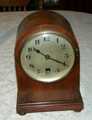 Antique/Vintage Dome Shaped Wood Cased Mantel Clock, Spares/Repair