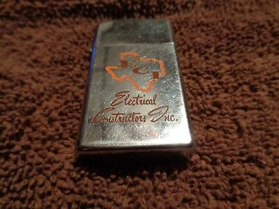 1966 Vintage Zippo Slim Advertising Lighter ECI Electrical Contractors Inc Texas