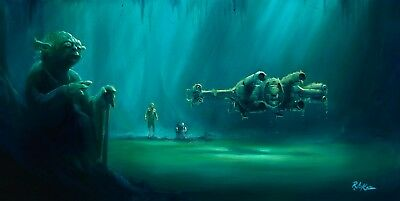 """Acme Archives Star Wars Giclee On Canvas By Rob Kaz """"lifting The X-Wing"""" Yoda"""