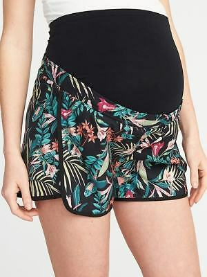 NWT OLD NAVY M Maternity Full-Panel Semi-Fitted Running  Shorts Medium Floral