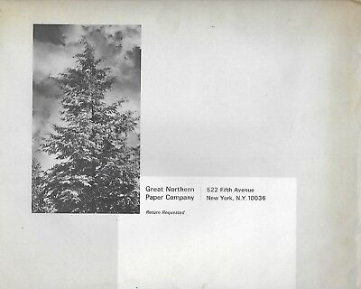 VINTAGE MAINE HISTORY GREAT NORTHERN PAPER COMPANY BROCHURE IN MAILER 1960's