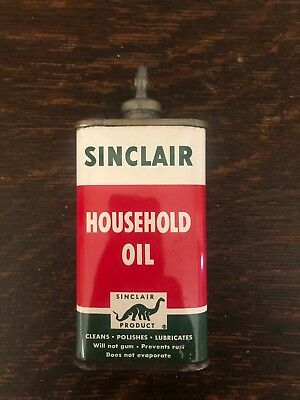 Vintage Original Sinclair Household Oil 4 Oz Can Lead Top Gas Station Refinery