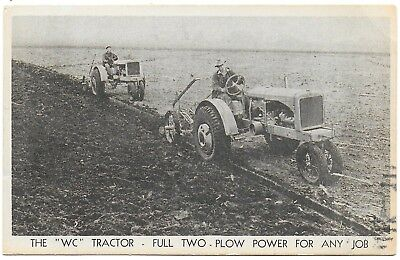 (#3193) 1936 Advertising Postcard  The Allis Chalmers WC Tractor Plowing a Field
