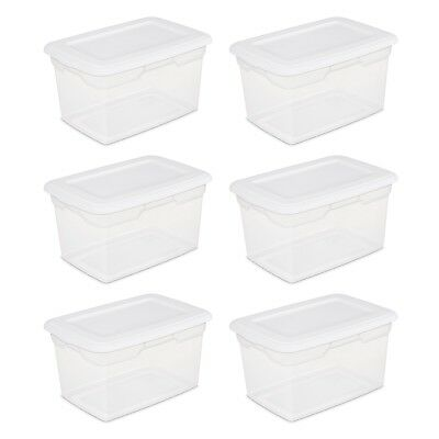 Large Plastic Storage Boxes 6 Pack Moving Containers Clear Lid