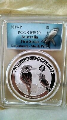 2017 P 1oz Silver Kookaburra with Shark Privy PCGS MS70 First Strike Shark Label
