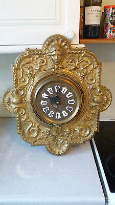 Antique French - Brevet-Ornate  Brass Wooden Backed Wall Clock Enamel Numerals