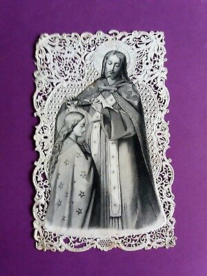 CANIVET-IMAGE PIEUSE DENTELLE-HOLY CARD-SANTINO-DOPTER 196- Vierge couronnée