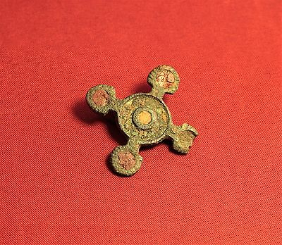 Ancient Roman Enamelled Fibula or Brooch, 2. Century