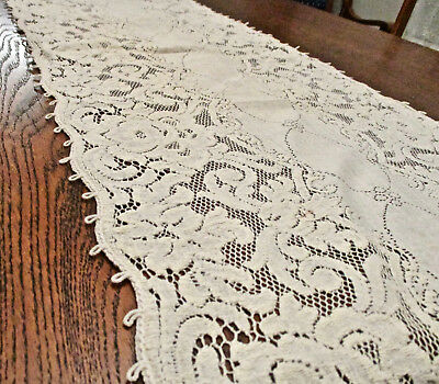 """Quaker Lace Style Table Mantle Buffet Piano Runner Dresser Scarf 15"""" by 52"""" Long"""