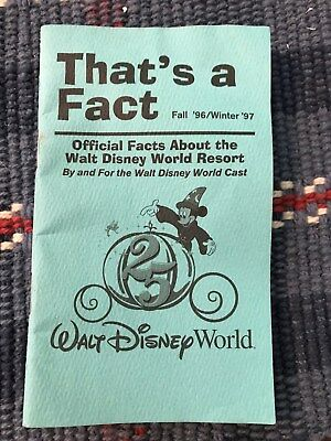 """Disney 1996 """"That's a Fact"""" Cast Member Pocket Reference"""