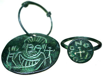 Byzantine Bronze Icon Pendant and Byzantine Bronze Ring Set