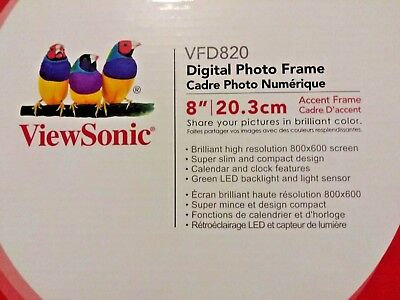 "ViewSonic digital photo frame VFD820 8"" never used complete with instructions"