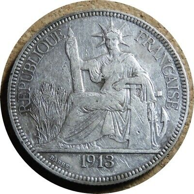 elf French Indo China 1 Piastre 1913 A Silver