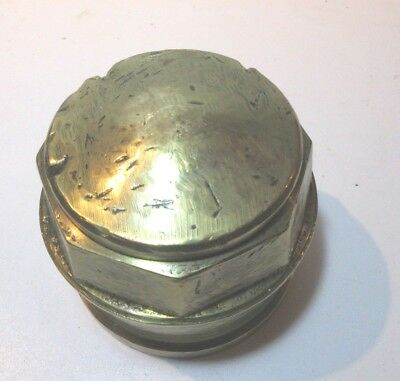 Large Antique Brass Carriage Wheel Hub Nut Unmarked