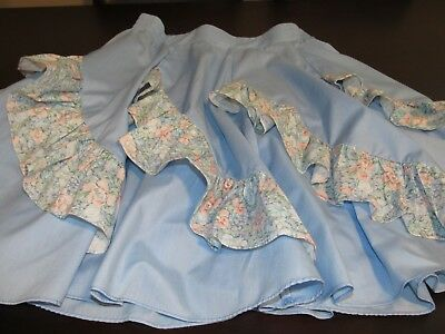 Vintage Ladies Blue Square Up Square Dance Skirt w Floral Ruffles Medium