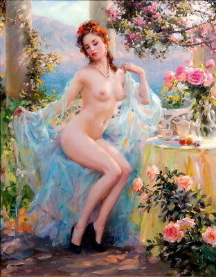 Beautiful Woman on Sunny Balcony Oil Painting HD Printed on Canvas P1240