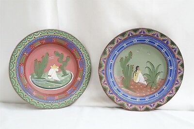 Tlaquepaque Mexican Man Lady Pottery Painted Wall Hanging Plaques