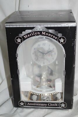 Marilyn Monroe Glass Dome Anniversary Clock With Spinning Pendulum NEW IN BOX
