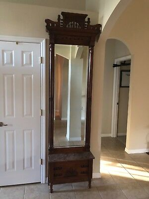 Antique Solid Wood Hallway Mirror Stand With marble Shelf